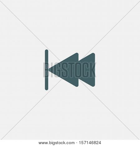 skip backward button icon vector isolated on white background