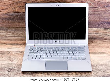 Minsk, Belarus - April 16, 2016: Notebook Samsung Series 7 Ultra. OS Windows 8.1, 10. Samsung Group founded in 1938 Lee Byung-chull. The company is headquartered in Seoul Republic of Korea .