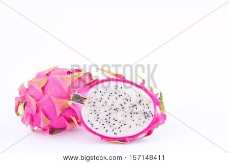 organic dragon fruit (dragonfruit) or pitaya on white background healthy dragon fruit food isolated