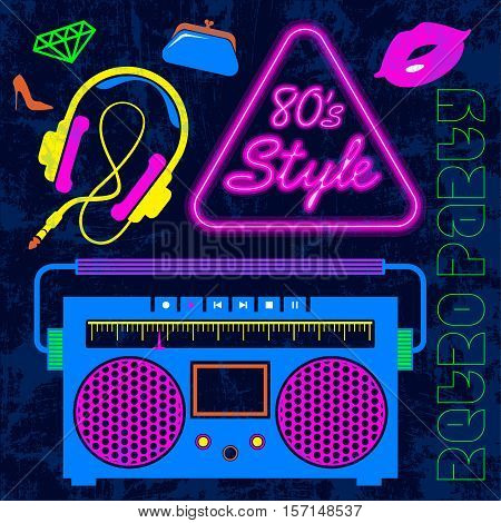 80's Retro neon style elements Colorful background. Vintage Lips, headphones, vintage cassette radio, eighties fashion vector graphic disco banner and poster. Old time style fashion graphic template.