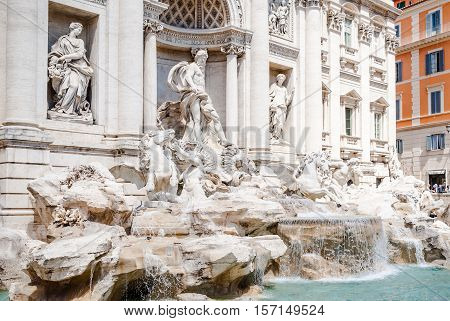 Detail of the Trevi Fountain which is a fountain in the Trevi district in Rome Italy. Standing 26.3 metres high and 49.15 metres wide and one of the most famous fountains in the world