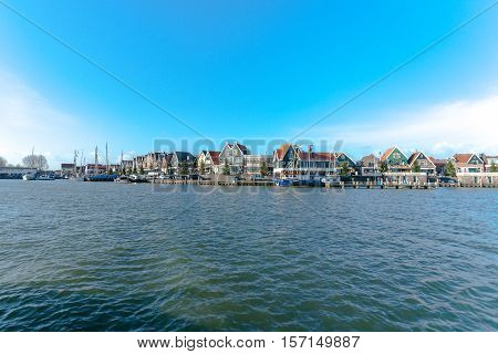 The port with harbour of Volendam. Netherlands
