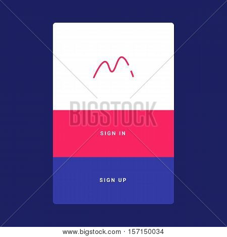UI, UX and GUI template layout for Mobile Apps. Welcome screen. Pink and blue color ux app. User interface. Welcome screen