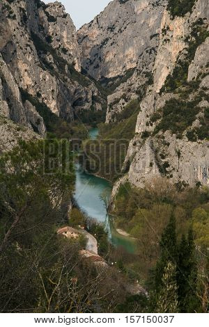 Aerial view of Furlo gorge in the marche region, natural reserve in Italy.