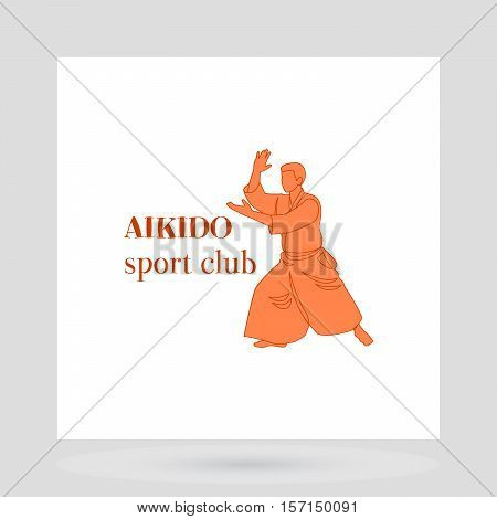 Fight club logo design presentation. Aikido sport club vector illustration