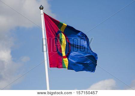 flag of the sami minority group in scandinavia