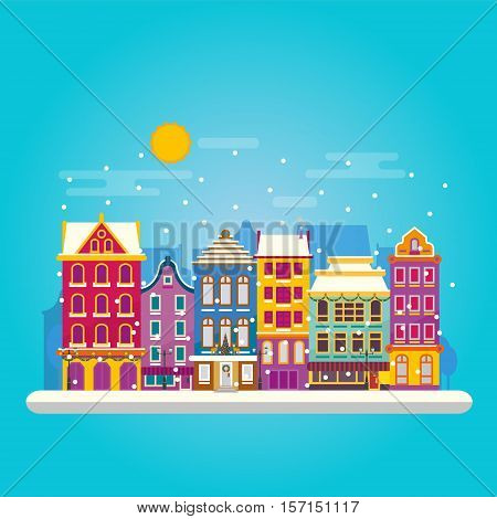 Winter Day In Cosy Town Street Scene. Classic European Houses Landscape With Christmas Holiday Decor