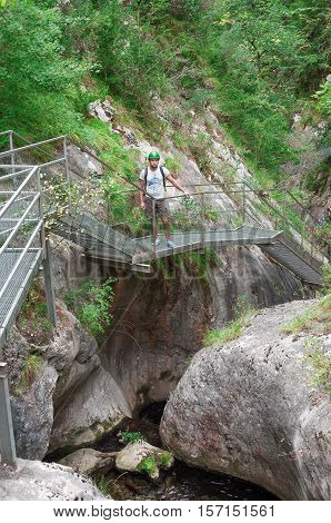 Gorge in the Pyrenees mountains. Gorgues de la Fou. The pyrenees on the france spain border between Spain and France. Pyrénées-Orientales. Family travel.