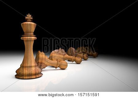 3D Rendering : Illustration Of Chess Pieces.the Wooden King Chess At The Center With Pawn Chess In T