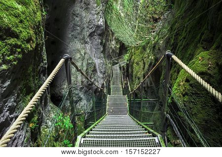 Gorge In The Pyrenees Mountains.  Gorgues De La Fou. The Pyrenees On The France Spain Border, Betwee