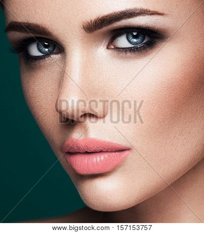 sensual glamour portrait of beautiful woman model lady with fresh daily makeup and clean healthy skin face