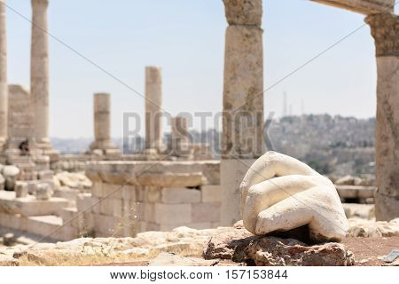 Stone hand of a statue in the temple of Hercules in Amman Jordan