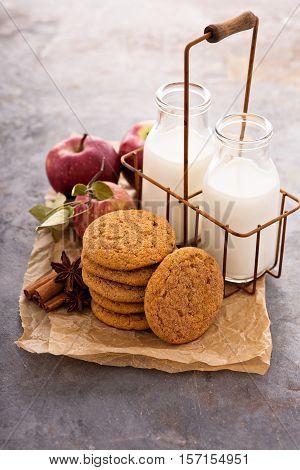 Apple cinnamon snickerdoodle cookies with milk bottles