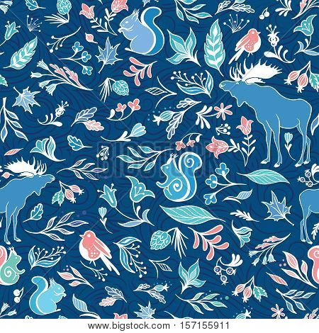 Seamless blue texture with bright nature leaves and animals elements on indigo background for textile and wallpaper design