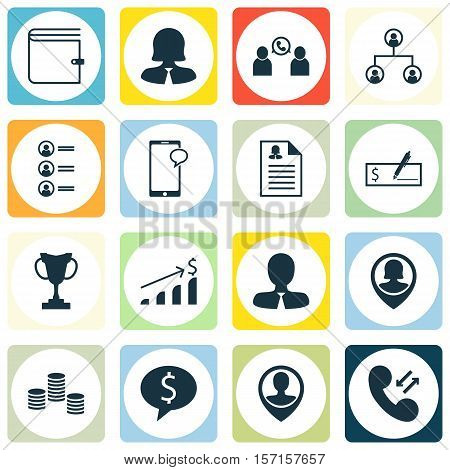Set Of Human Resources Icons On Phone Conference, Employee Location And Tree Structure Topics. Edita