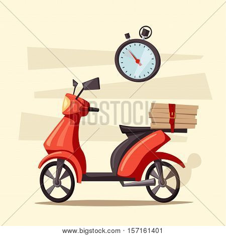 Fast and free delivery. Vector cartoon illustration. Vintage style. Food service. Red scooter. Retro bike.