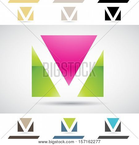 Design Concept of Colorful Stock Icons and Shapes of Letter V, Illustration