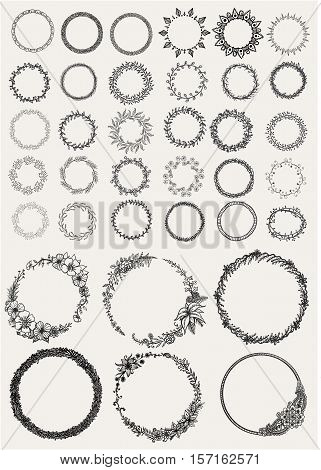 Big set of hand drawn Laurels and wreaths circles for invitations, greeting cards, quotes, blogs, posters and Wedding Frames. Stock Vector