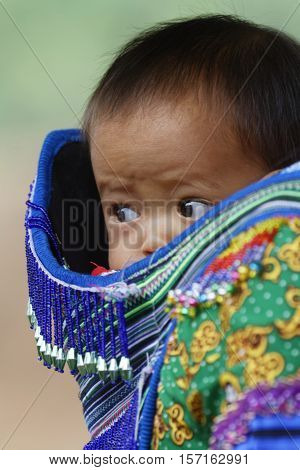 Coc Ly, Vietnam, October 25, 2016 : Baby On The Back Of His Mother On Tuesday Market Of Coc Ly, A Sm