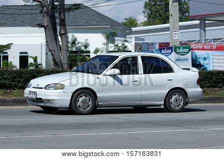 CHIANG MAI THAILAND - OCTOBER 27 2016: Private car Hyundai Accent. Photo at road no 121 about 8 km from downtown Chiangmai thailand.