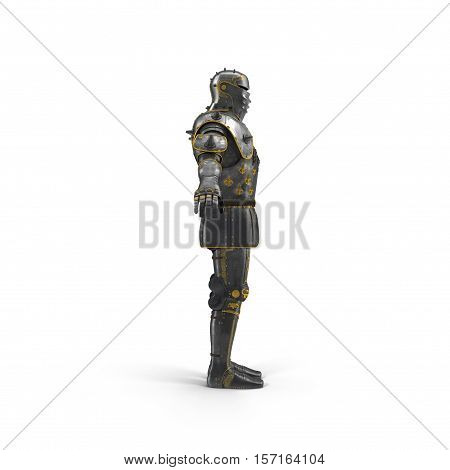 old suit of armour on white background. 3D illustration