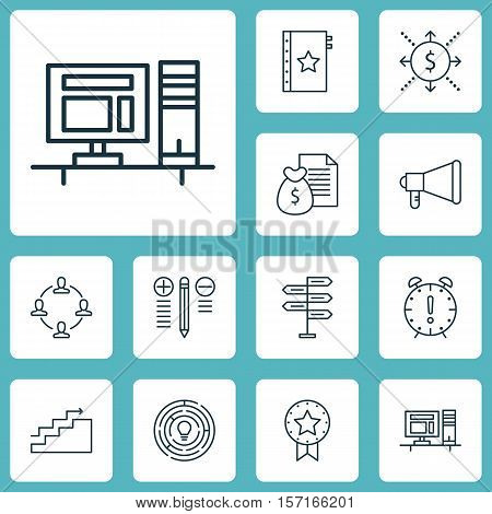 Set Of Project Management Icons On Opportunity, Computer And Report Topics. Editable Vector Illustra