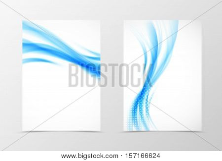 Front and back wavy flyer template design. Abstract template with blue lines and halftone effect in soft style. Vector illustration