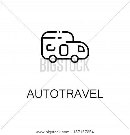 Autotravel flat icon. Single high quality outline symbol of recreation for web design or mobile app. Thin line signs of car for design logo, visit card, etc. Outline pictogram of caravans