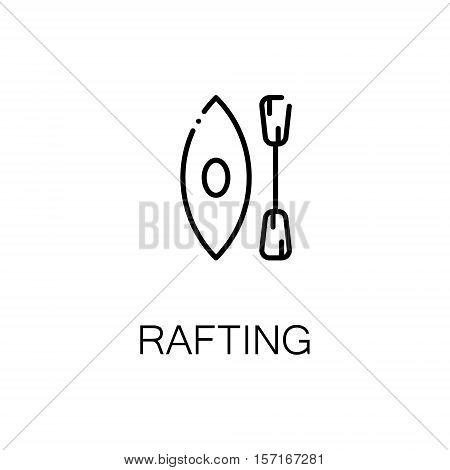 Rafting flat icon. Single high quality outline symbol of recreation for web design or mobile app. Thin line signs of boat for design logo, visit card, etc. Outline pictogram of kayak