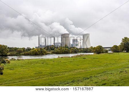 Grosskrotzenburg power station Main river Germany Hessen