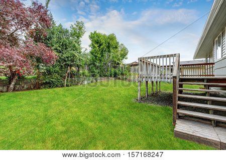 Empty Wooden Walkout Deck Overlooking Backyard Garden