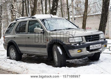 Smolensk, Russia - November 13, 2016: Opel Frontera parked in winter street. For the automobile sold in between 2002 and 2013 as the Isuzu MU.