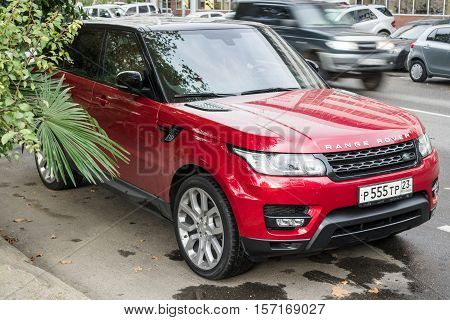 Sochi, Russia - October 12, 2016: Range Rover Land Rover parked on the street of Sochi city.