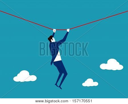 Businessman Challenge. Concept Business Illustration. Vector Flat