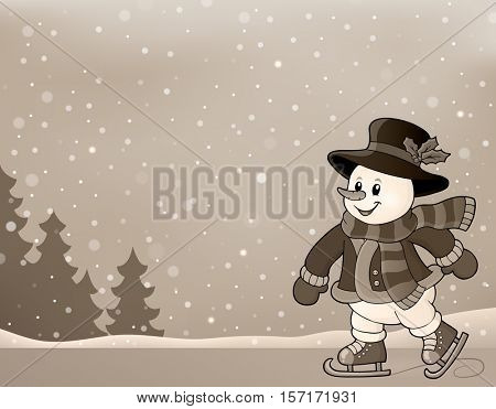 Stylized image with skating snowman - eps10 vector illustration.
