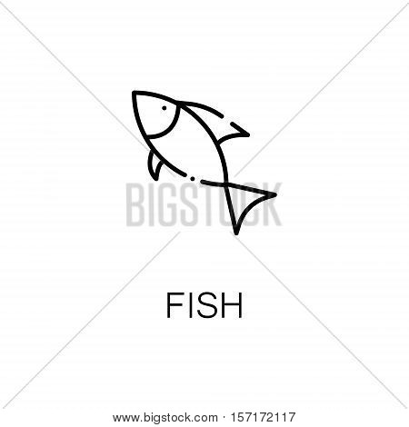 Fish flat icon. Single high quality outline symbol of camping for web design or mobile app. Thin line signs of wild fish for design logo, visit card, etc. Outline pictogram of river fish