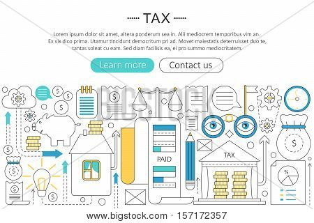 Vector elegant thin flat line tax taxes concept. Web header tax taxes banner elements layout. Presentation, flyer and poster