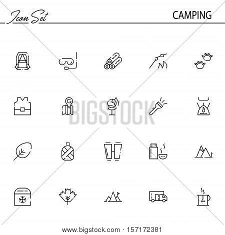 Camping flat icon set. Collection of high quality outline symbols of meat food for web design, mobile app. Vector thin line  icons or logo of animals, mountains, thermos,caravans, te, etc.