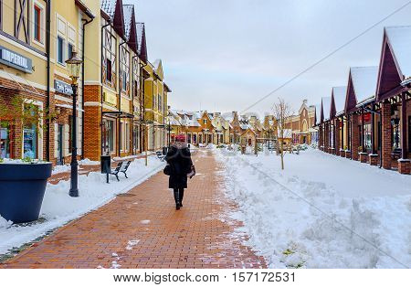 KIEV UKRAINE - NOVEMBER 11 2016: The best place for winter shopping is the Dutch style outlet city that boasts large amount of fashion boutiques and interesting design on November 11 in Kiev.