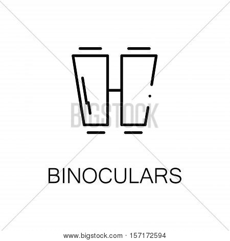 Binoculars flat icon. Single high quality outline symbol of camping for web design or mobile app. Thin line signs of binoculars for design logo, visit card, etc. Outline pictogram of binoculars