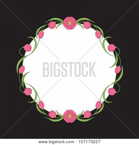 Vector Floral Wreath Of Crimson Tulips For Wedding Invitations. Colorful Illustration.
