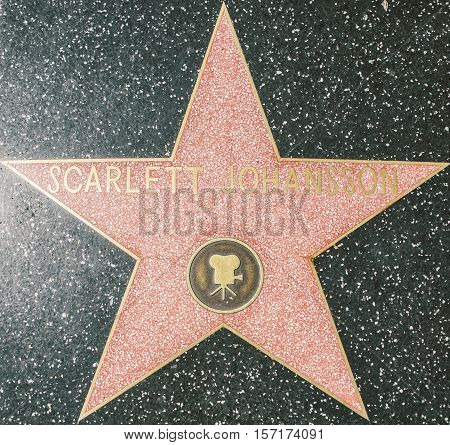HOLLYWOODCA - OCTOBER 08 2015: Scarlett Johansson star. In 1958 the Hollywood Walk of Fame was created as a tribute to artists working in the entertainment industry.