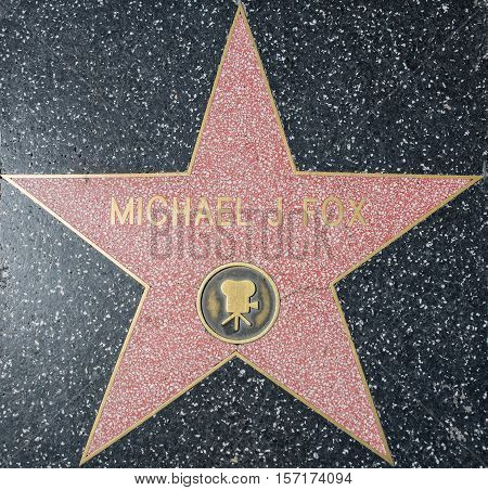 HOLLYWOODCA - OCTOBER 08 2015: Michael J fox star. In 1958 the Hollywood Walk of Fame was created as a tribute to artists working in the entertainment industry.