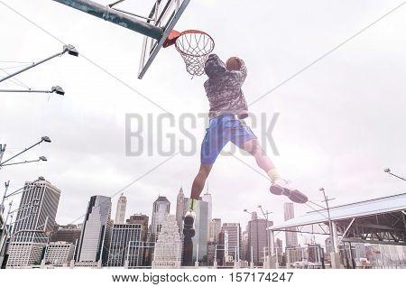 Huge slam dunk on a basketball court