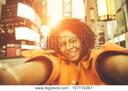 woman taking selfie in New york. Happy face Pov