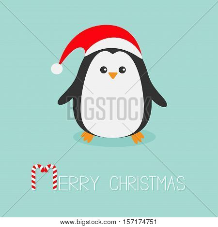 Kawaii Penguin wearing Santa red hat. Cute cartoon character. Flat design Winter antarctica bluebackground Merry Christmas Candy cane text. Greeting card. Vector illustration