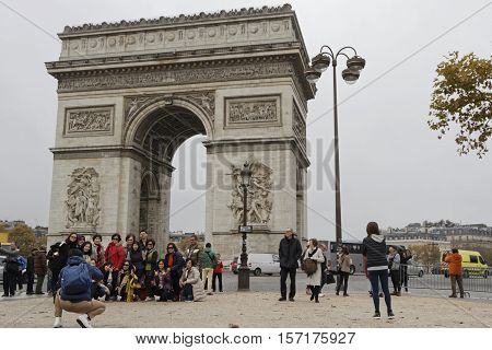 Paris, France, November 15, 2016 : Arc De Triomphe Is One Of The Most Famous Monuments In Paris. The