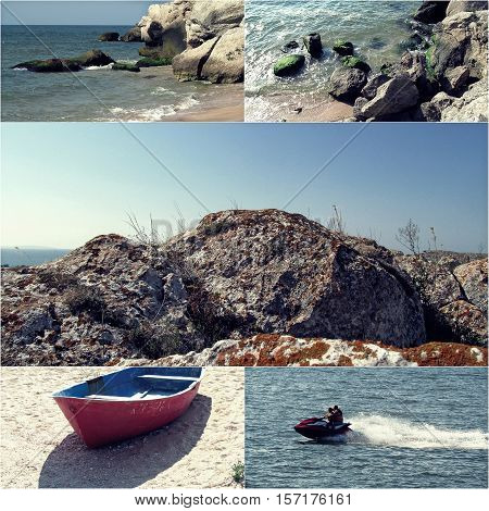 Collage of sea photos with sand, tide, rocky coast and jet boat of wav runner.