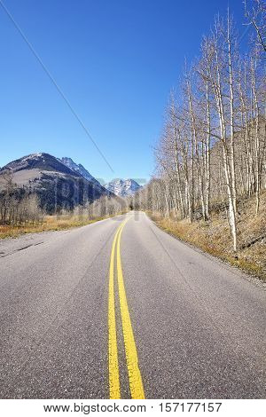 Mountain Road From Aspen To Maroon Bells In Autumn.