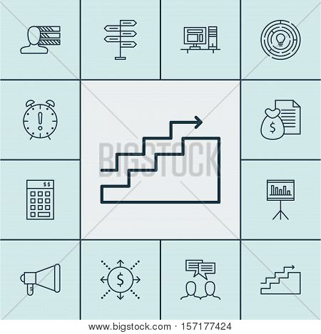 Set Of Project Management Icons On Growth, Investment And Announcement Topics. Editable Vector Illus